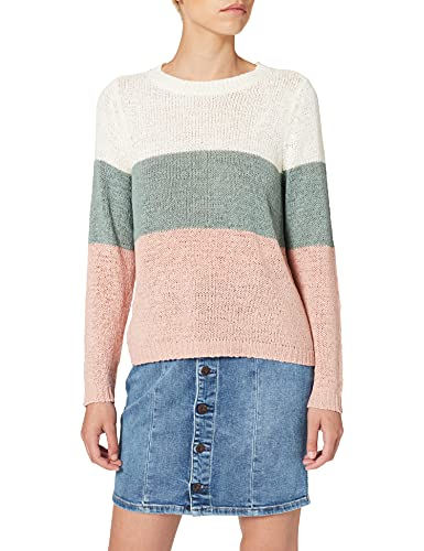 Only Onlgeena L/s Block Pullover Knt Noos suéter, Multicolor (Cloud Dancer Stripes: W. Chinois Green/Rose), 38 (Talla del Fabricante: Small) para Mujer