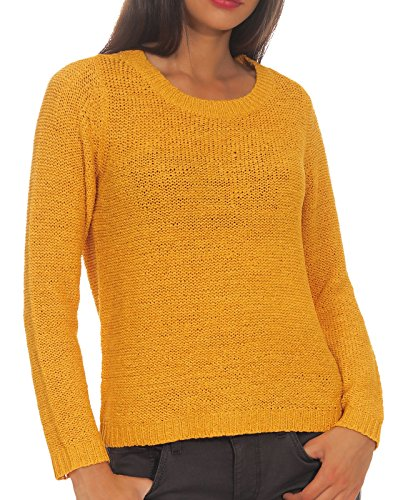 Only ONLGEENA XO L/S Pullover KNT Noos suéter, Amarillo (Golden Yellow Golden Yellow), Large para Mujer